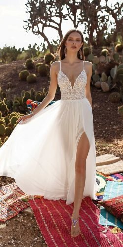 sexy wedding dresses ideas with spaghetti straps lace top slit beach asafdadush