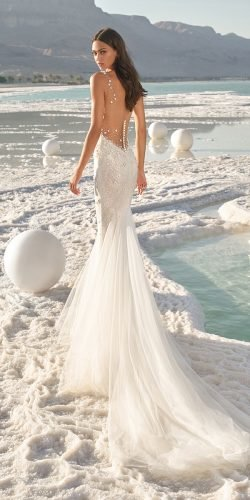 sexy wedding dresses ideas fit and flare low back wih train beach lee grebenau
