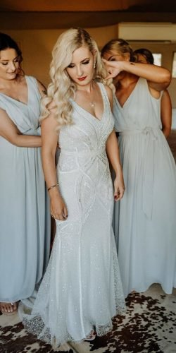 vintage inspired wedding dresses sheath v neckline sequins elizajanehowell