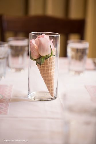 wedding ideas for summer ice cream cone with rose