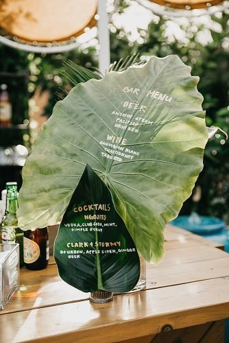 wedding ideas for summer palm leaf wedding menu