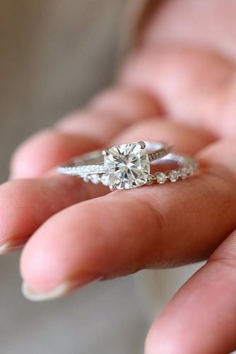 cheap engagement rings cushion cut ring set