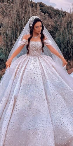 disney wedding dresses ball gown off the shoulder strapless neckline sequins grach haute