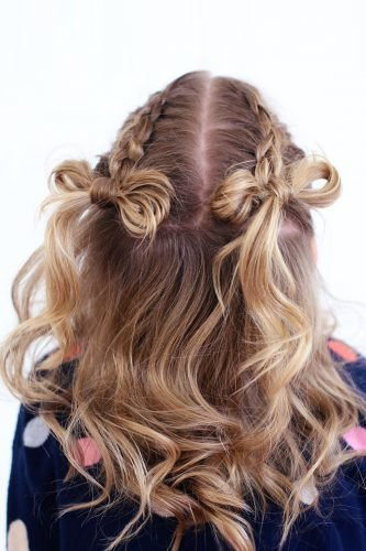 flower girl hairstyles blonde curls with braids and bow twistmepretty