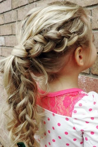 flower girl hairstyles ponytail with braid on long blonde hair bieamanda
