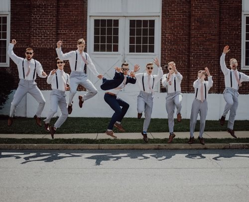 funny wedding readings groom groomsman jump