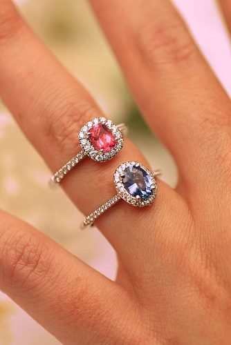 halo engagement rings colored centerstones pave band