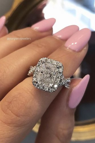 halo engagement rings radiant cut diamond