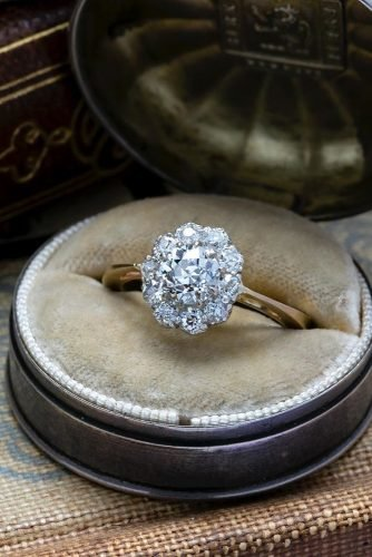 halo engagement rings vintage floral halo
