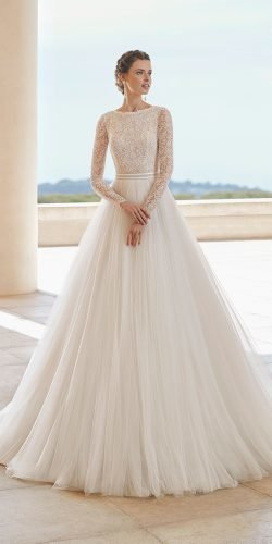modest wedding dresses ball gown lace top with long sleeves rosa clara