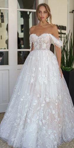 off the shoulder wedding dresses strapless neckline floral galitrobinik