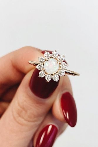 opal engagement rings floral halo unique