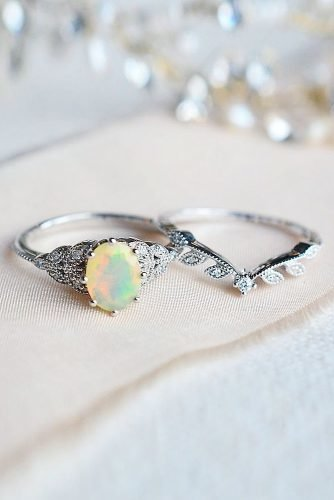 opal engagement rings oval cut white gold set