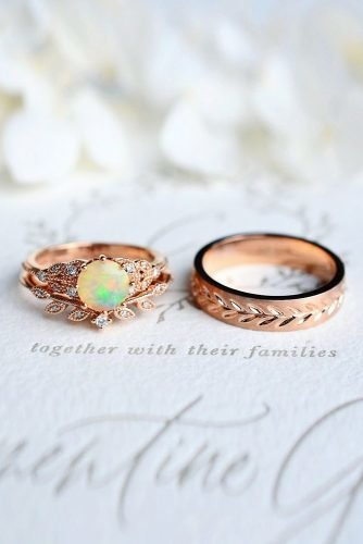 opal engagement rings rose gold wedding set