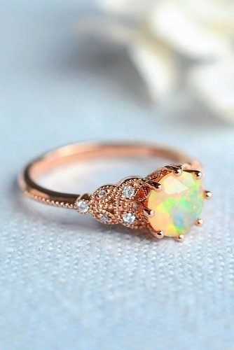 opal engagement rings round cut rose gold ring