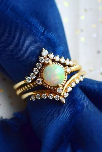 opal engagement rings unique round cut gold