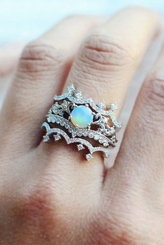 opal engagement rings white gold diamond set
