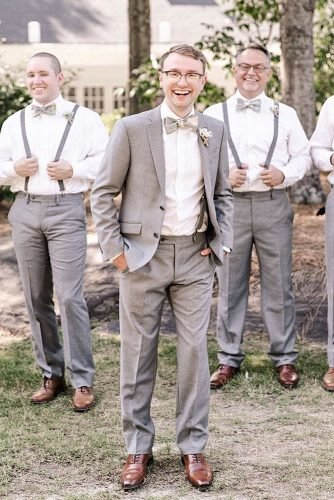 rustic groom attire grey jacket with bow tie country sarahvanheckephotography