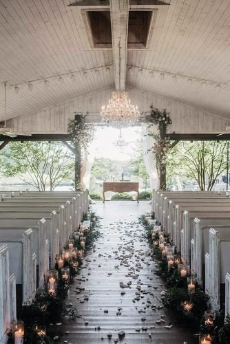 wedding ideas with candles and greenery aisle decor barn ceremony paperantler