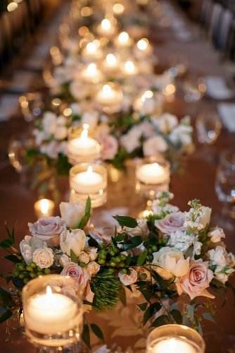 wedding ideas with candles tea light with pink roses kobybrown