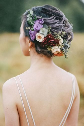 wedding updos braided curly updo with flower crown james looker photography