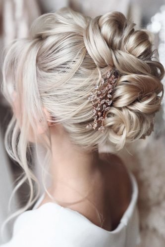 wedding updos high swept updo on medium blonde hair tonyastylist