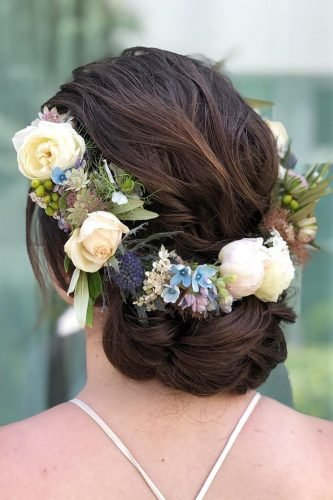 wedding updos simple low dsrk hair with flower crown styles_by_reneemarie