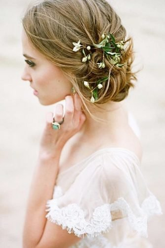 wedding updos simple with white flowers and greenery heathernan