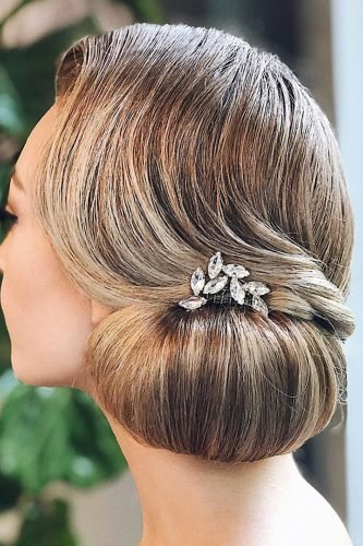 wedding updos smooth classy side chignon with crystal hairspin hairandmakeupbysteph