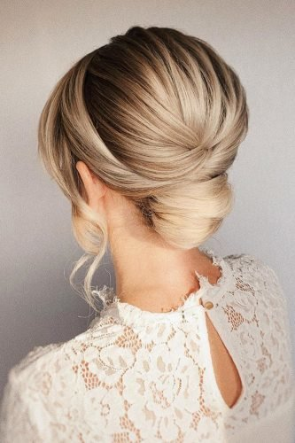 wedding updos smooth textured low bun bridal_hairstylist