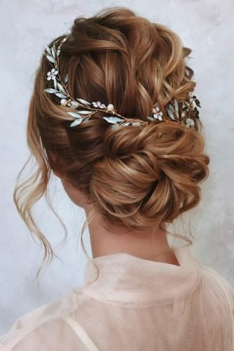 wedding updos swept wavy low bun with halo belaya_lyudmila
