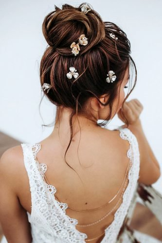 wedding updos textured high ballet bun on dark hair with pins juliafratichelli.bridalstylist