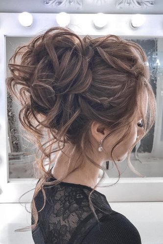 wedding updos textured high curly bun with small braid tatianasolne4naya