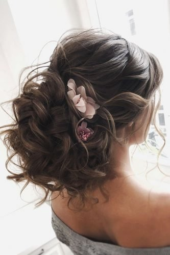 wedding updos volume low with curls and flowers juliafratichelli.bridalstylist