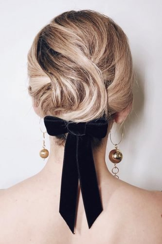 wedding updos with black velvet ribbon bow kristin_ess