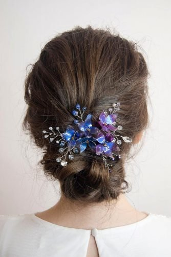 classic blue wedding bridal hairstyle with flower pin le_fil_flower