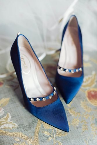 classic blue wedding elegant shoes with rhinestones sarah kate photography