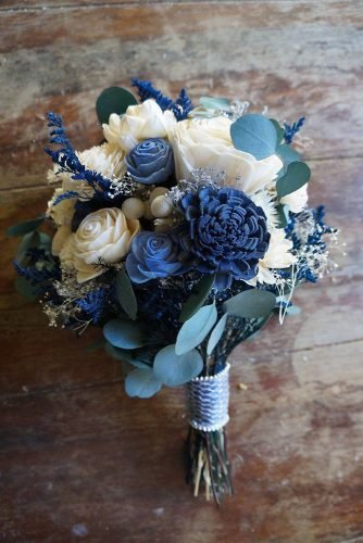classic blue wedding small bouquet with roses and leaves woodlandflowerco