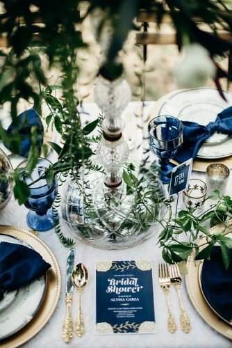 classic blue wedding table setting with greenery decor gold dishes search results