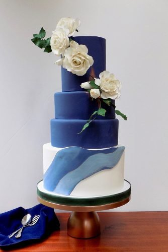 classic blue wedding tall white blue with roses satinice