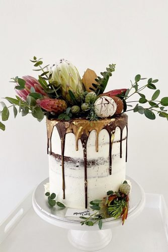 fall wedding cakes naked cake with decor