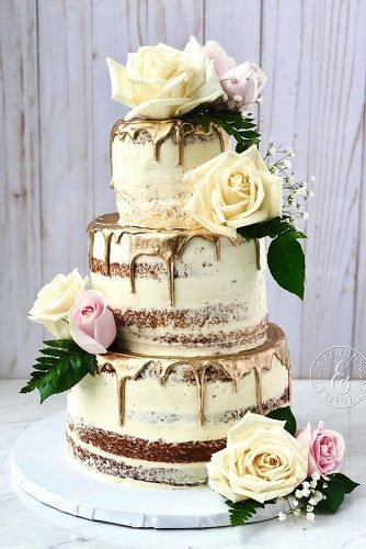 fall wedding cakes naked rustic cake with flowers