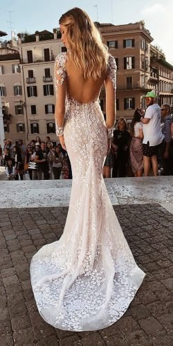mermaid wedding dresses backless with long illusion sleeves lace tomsebastien