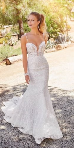 mermaid wedding dresses sweetheart neckline with spaghetti strpas lace beach martinthornburg