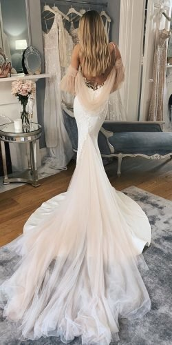 sexy wedding dresses ideas mermaid with spagheeti straps low back with train pallascouture