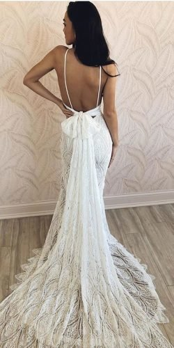 sexy wedding dresses ideas sheath backless with straps train bow madewithlovebridal