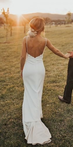sexy wedding dresses ideas sheath with spaghetti straps backless rustic made with love