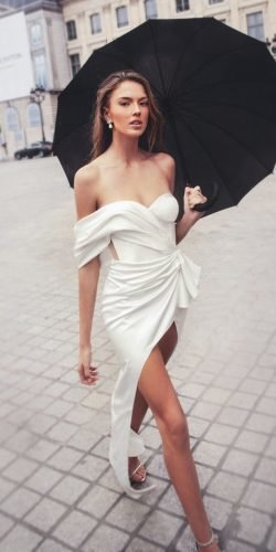 sexy wedding dresses ideas simple off the shoulder sweetheart neckline beach elihavsasson