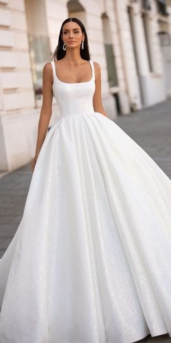 wedding dress designers ball gown simple with straps square neckline milla nova