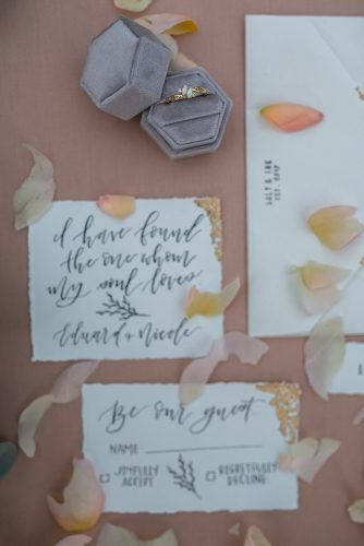 wedding invitation wording wedding rings with petals